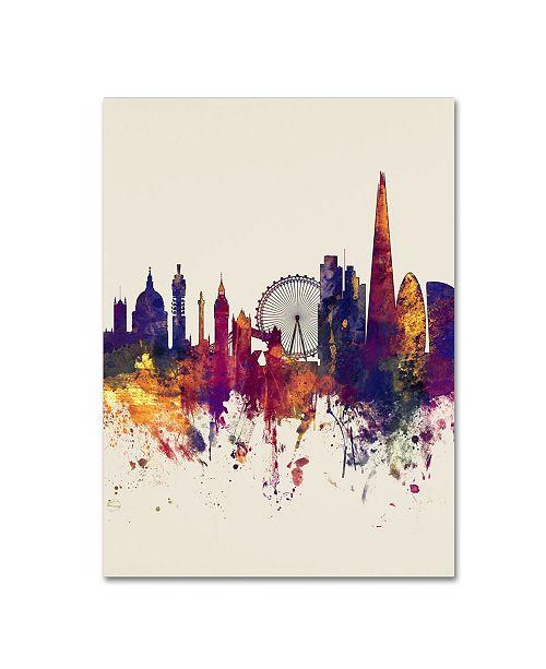"Trademark Global Michael Tompsett 'London Skyline Tall Beige' Canvas Art - 18"" x 24"""