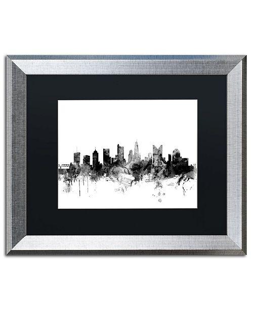 """Trademark Global Michael Tompsett 'Columbus Ohio Skyline B&W' Matted Framed Art - 16"""" x 20"""""""