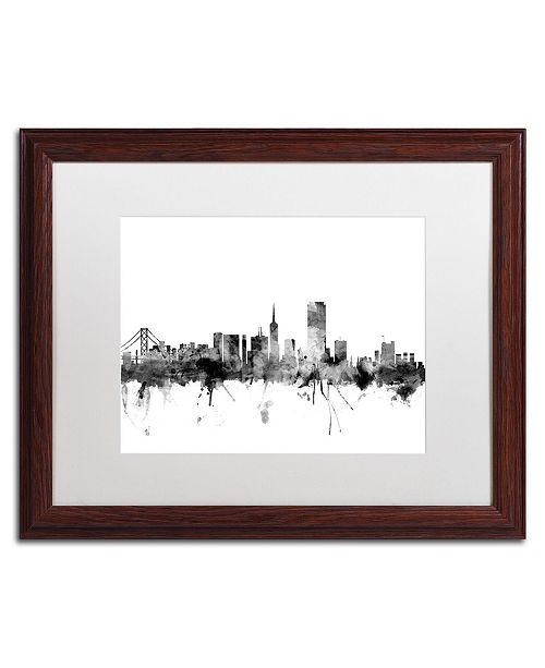 "Trademark Global Michael Tompsett 'San Francisco City Skyline B&W' Matted Framed Art - 16"" x 20"""