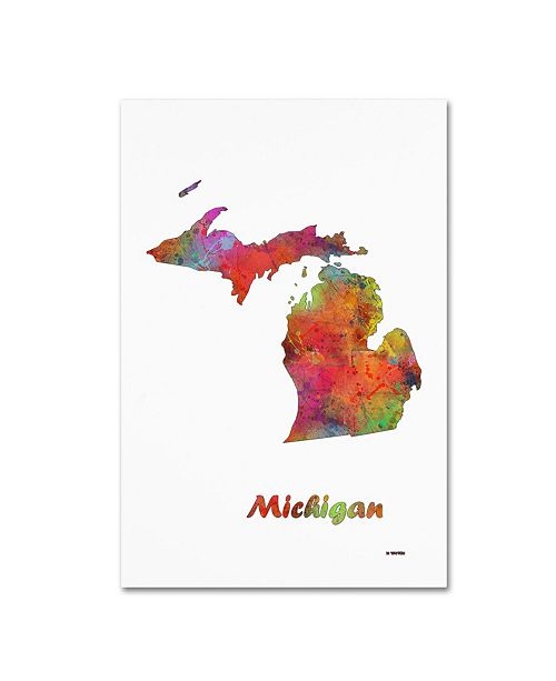 "Trademark Global Marlene Watson 'Michigan State Map-1' Canvas Art - 16"" x 24"""