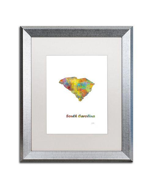 "Trademark Global Marlene Watson 'South Carolina State Map-1' Matted Framed Art - 16"" x 20"""