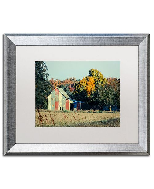 "Trademark Global PIPA Fine Art 'Patriotic Barn in Field' Matted Framed Art - 16"" x 20"""