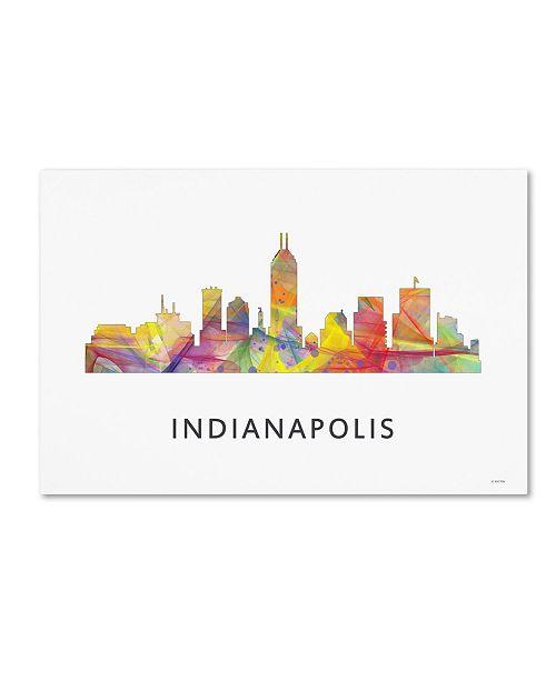 "Trademark Global Marlene Watson 'Indianapolis Indiana Skyline WB-1' Canvas Art - 16"" x 24"""