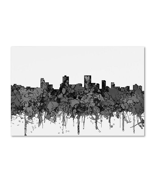 "Trademark Global Marlene Watson 'Anchorage Alaska Skyline BW' Canvas Art - 16"" x 24"""