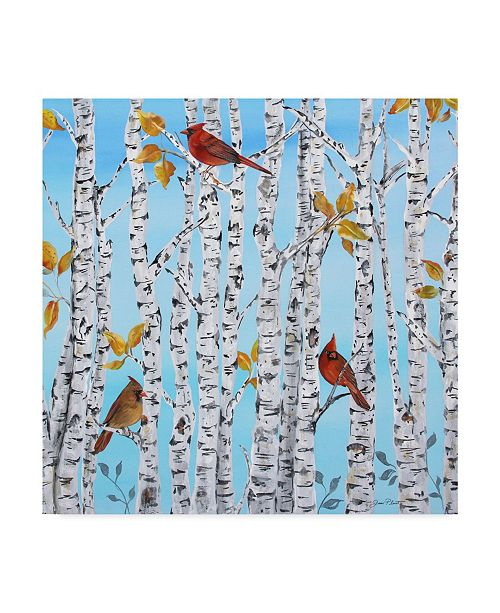"Trademark Global Jean Plout 'Cardinals In Birch' Canvas Art - 18"" x 18"""