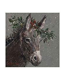 "Mary Miller Veazie 'Mary Beth The Christmas Donkey' Canvas Art - 18"" x 18"""