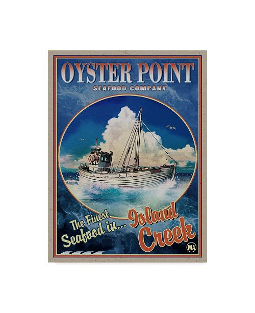 """Trademark Global Old Red Truck 'Oyster Point Seafood Co.' Canvas Art - 18"""" x 24"""""""