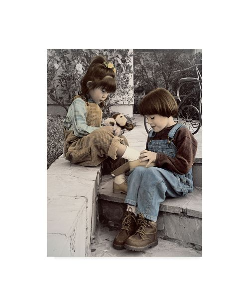 """Trademark Global Sharon Forbes 'Teach Me To Tie' Canvas Art - 18"""" x 24"""""""