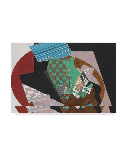 """Trademark Global Juan Gris 'Checkerboard and Playing Cards, 1915' Canvas Art - 16"""" x 24"""""""