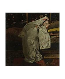 """Georg Hendrik Breitner 'Girl In A White Kimono' Canvas Art - 18"""" x 18"""""""