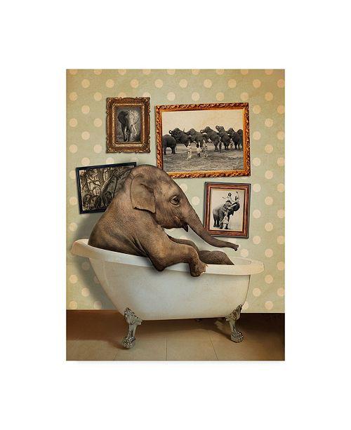 "Trademark Global J Hovenstine Studios 'Elephant In Tub' Canvas Art - 24"" x 32"""