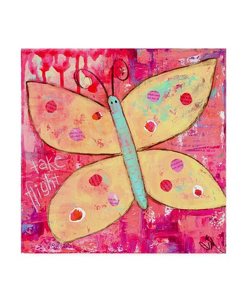 "Trademark Global Jennifer Mccully 'Yellow Butterfly' Canvas Art - 14"" x 14"""