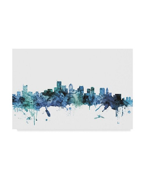 "Trademark Global Michael Tompsett 'Boston Massachusetts Blue Teal Skyline' Canvas Art - 19"" x 12"""