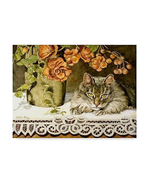 """Trademark Global Jan Benz 'Chelsea And The Begonias' Canvas Art - 19"""" x 14"""""""