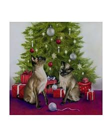 "Janet Pidoux 'Christmas Siamese Cats' Canvas Art - 14"" x 14"""