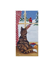 """Jan Panico 'Rudolph Watching Out The Window' Canvas Art - 16"""" x 32"""""""