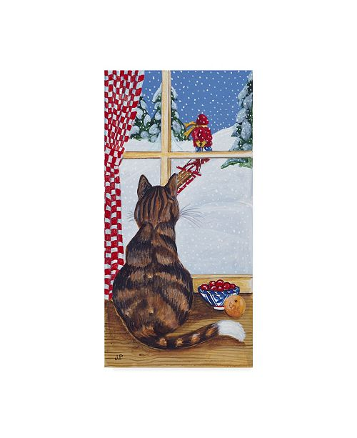 """Trademark Global Jan Panico 'Rudolph Watching Out The Window' Canvas Art - 16"""" x 32"""""""
