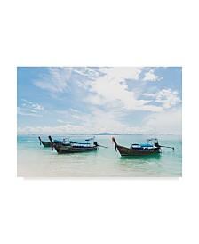 "Jason Matias 'Thailand Boats I' Canvas Art - 19"" x 12"""