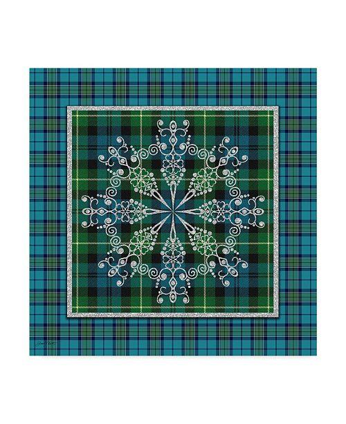"Trademark Global Jean Plout 'Plaid Snowflakes 2' Canvas Art - 14"" x 14"""