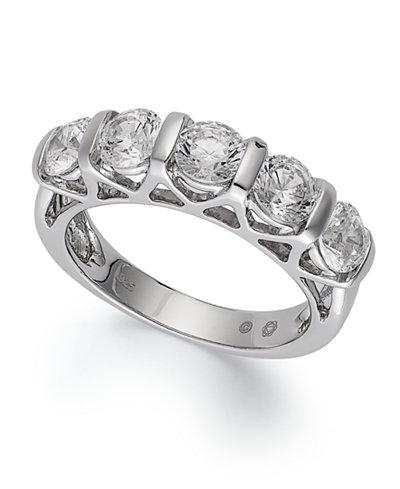 certified five stone diamond ring in 14k white gold 2 ct tw macys - Macys Wedding Rings