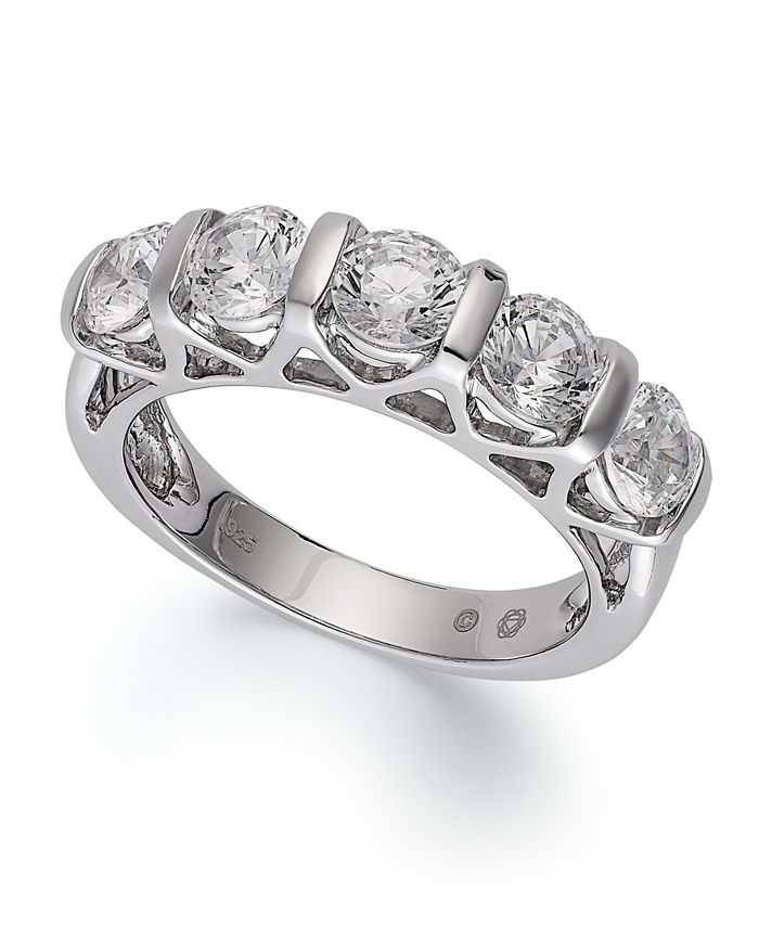 Macy's - Certified Five-Stone Diamond Ring in 14k White Gold (2 ct. t.w.)