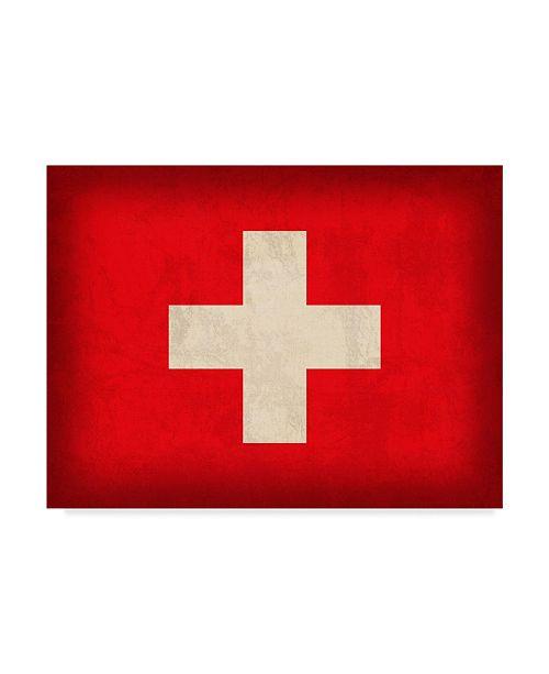 "Trademark Global Red Atlas Designs 'Switzerland Distressed Flag' Canvas Art - 19"" x 14"""