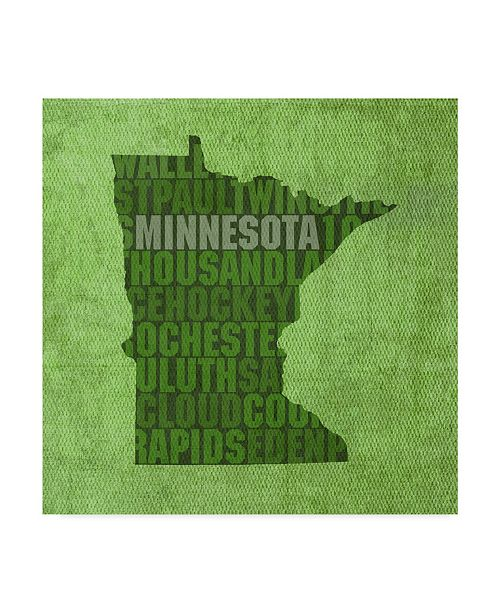 "Trademark Global Red Atlas Designs 'Minnesota State Words' Canvas Art - 18"" x 18"""