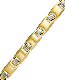 Men's Diamond Bracelet in Gold Ion-Plated Stainless Steel (1/4 ct. t.w.)