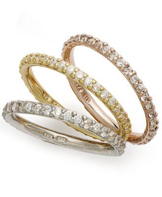 giani bernini tritone rings set set of 3 cubic zirconia stackable rings