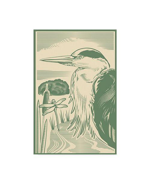 "Trademark Global Mike Hughes 'Woodcut Of Heron' Canvas Art - 12"" x 19"""