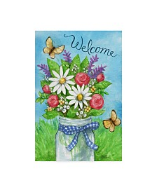"Melinda Hipsher 'Spring Mason Jar Flowers Welcome' Canvas Art - 16"" x 24"""