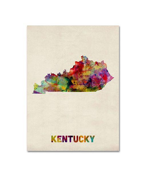 """Trademark Global Michael Tompsett 'Kentucky Map' Canvas Art - 19"""" x 14"""""""