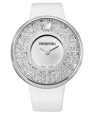 Swarovski Watch, Women's Swiss Crystalline White Calfskin Leather Strap 40mm 1135989