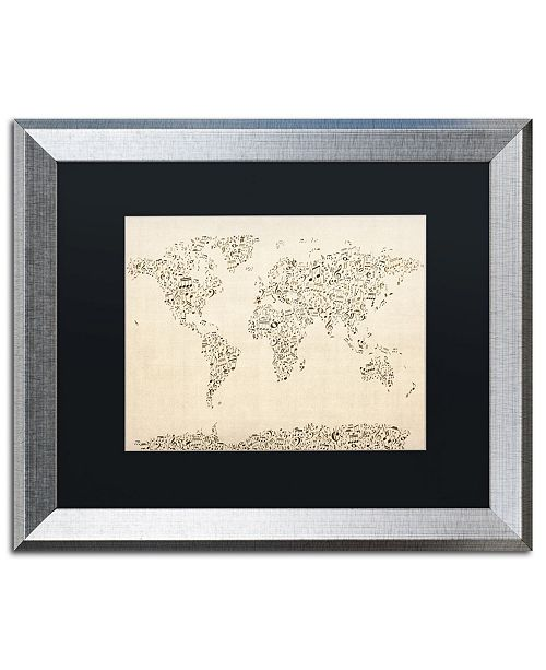 "Trademark Global Michael Tompsett 'Music Note World Map' Matted Framed Art - 16"" x 20"""
