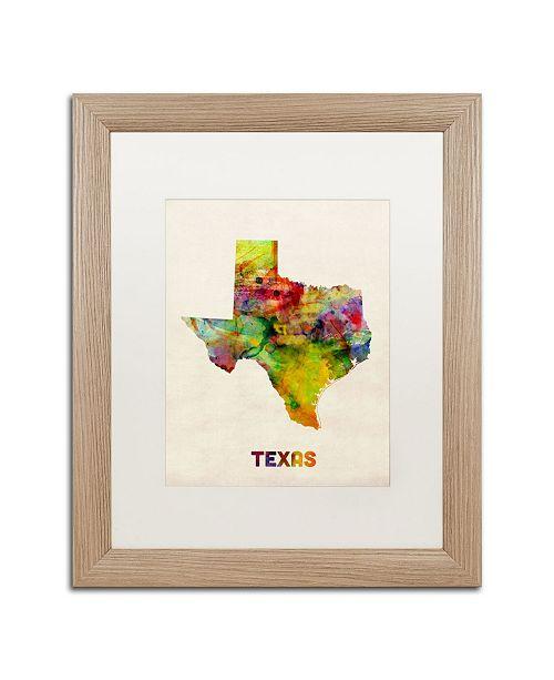 """Trademark Global Michael Tompsett 'Texas Map' Matted Framed Art - 16"""" x 20"""""""