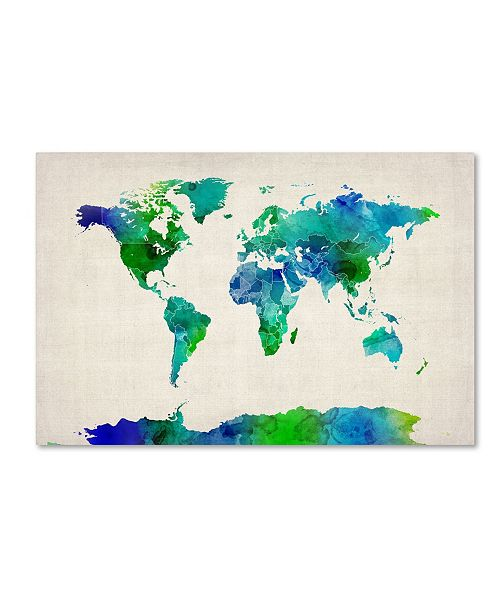 "Trademark Global Michael Tompsett 'Watercolor Map of the World' Canvas Art - 16"" x 24"""