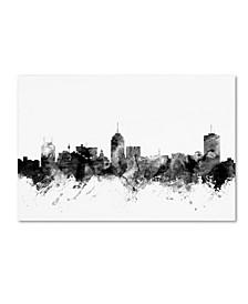 "Michael Tompsett 'Fresno California Skyline B&W' Canvas Art - 30"" x 47"""