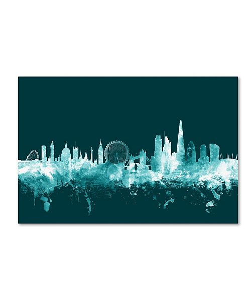 "Trademark Global Michael Tompsett 'London England Skyline Teal' Canvas Art - 30"" x 47"""