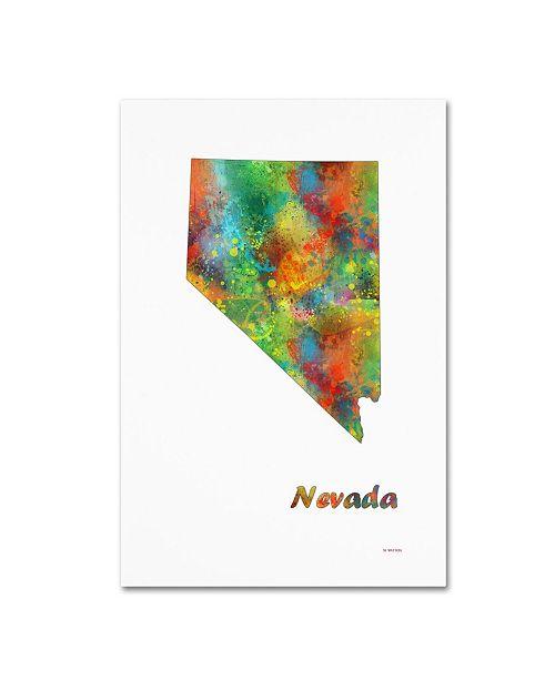"""Trademark Global Marlene Watson 'Nevada State Map-1' Canvas Art - 30"""" x 47"""""""