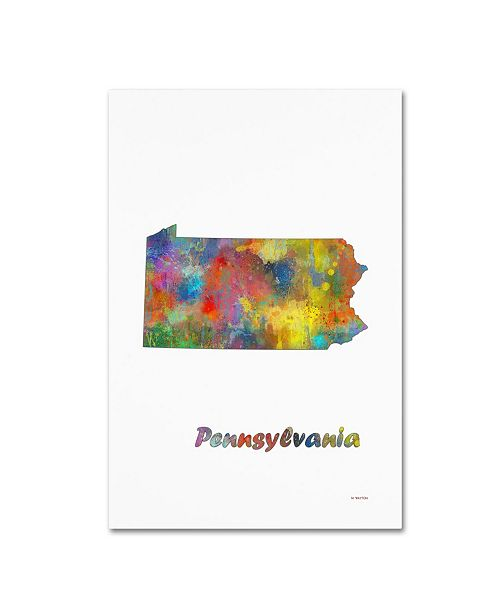 "Trademark Global Marlene Watson 'Pennsylvania State Map-1' Canvas Art - 30"" x 47"""