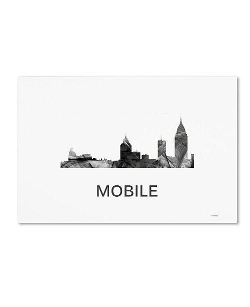 "Trademark Global Marlene Watson 'Mobile Alabama Skyline WB-BW' Canvas Art - 30"" x 47"""