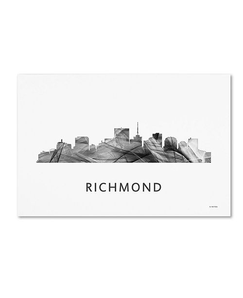 "Trademark Global Marlene Watson 'Richmond Virginia Skyline WB-BW' Canvas Art - 30"" x 47"""
