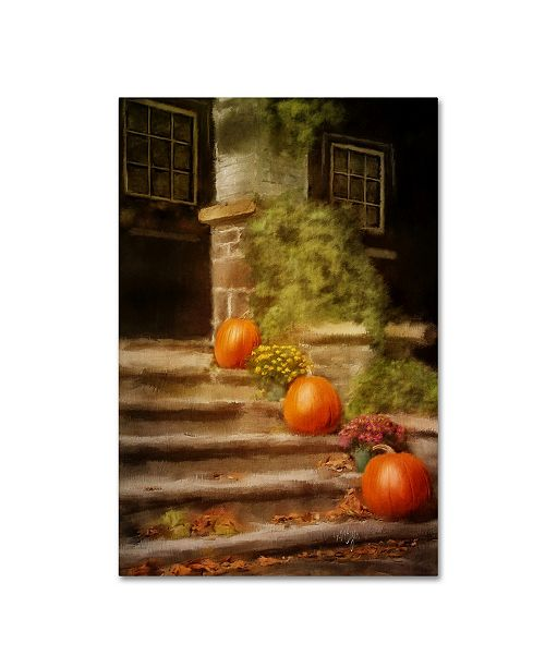 "Trademark Global Lois Bryan 'Pumpkins on the Porch' Canvas Art - 30"" x 47"""