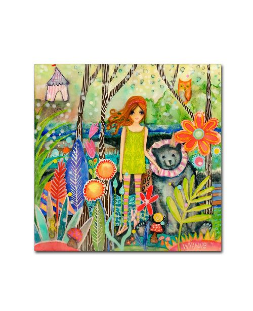 "Trademark Global Wyanne 'Big Eyed Girl Fingers Crossed' Canvas Art - 35"" x 35"""