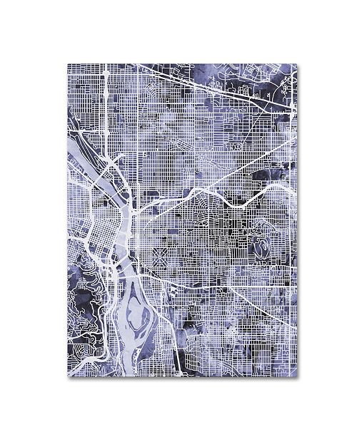 "Trademark Global Michael Tompsett 'Portland Oregon Street Map III' Canvas Art - 35"" x 47"""