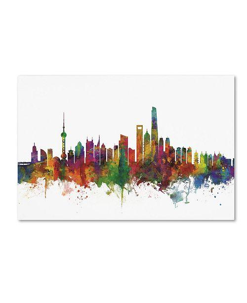 "Trademark Global Michael Tompsett 'Shanghai China Skyline II' Canvas Art - 22"" x 32"""