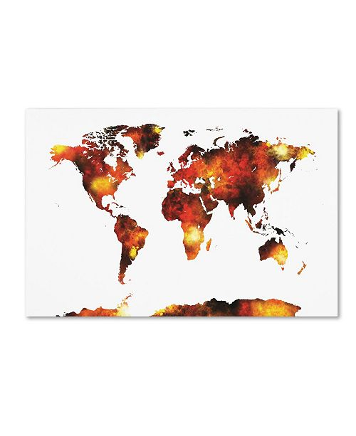 "Trademark Global Michael Tompsett 'World Map Watercolor X' Canvas Art - 30"" x 47"""