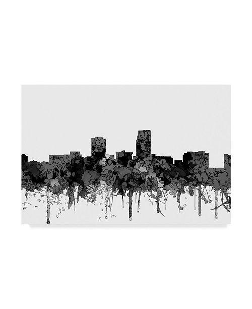 "Trademark Global Marlene Watson 'Omaha Nebraska Skyline B and W' Canvas Art - 30"" x 47"""