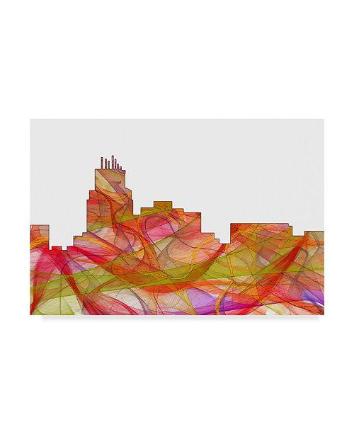 """Trademark Global Marlene Watson 'Durham North Carolina Skyline' Canvas Art - 22"""" x 32"""""""