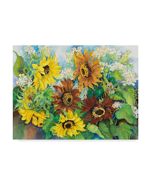 "Trademark Global Joanne Porter 'Queen Anne Lace Sunflowers' Canvas Art - 35"" x 47"""